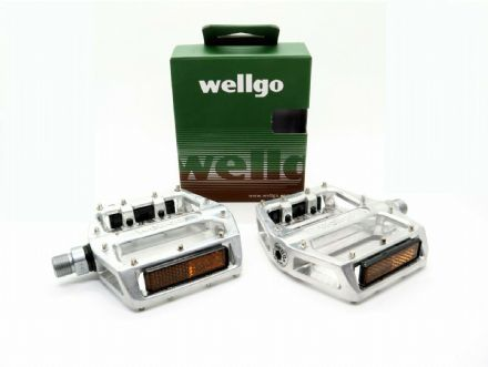 "Wellgo Sealed Bearing BMX/Mountain Bike Alloy Platform Pedals 9/16"" Silver B087B - 192932393147"